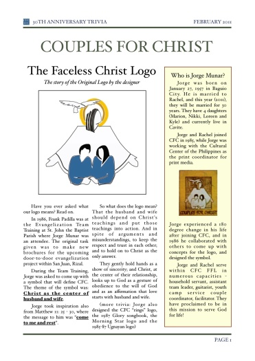 what does the logo of couples for christ mean xavyniceday